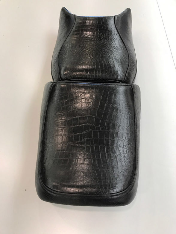 Motorcycle seat reupholstery in alligator stamped leather!