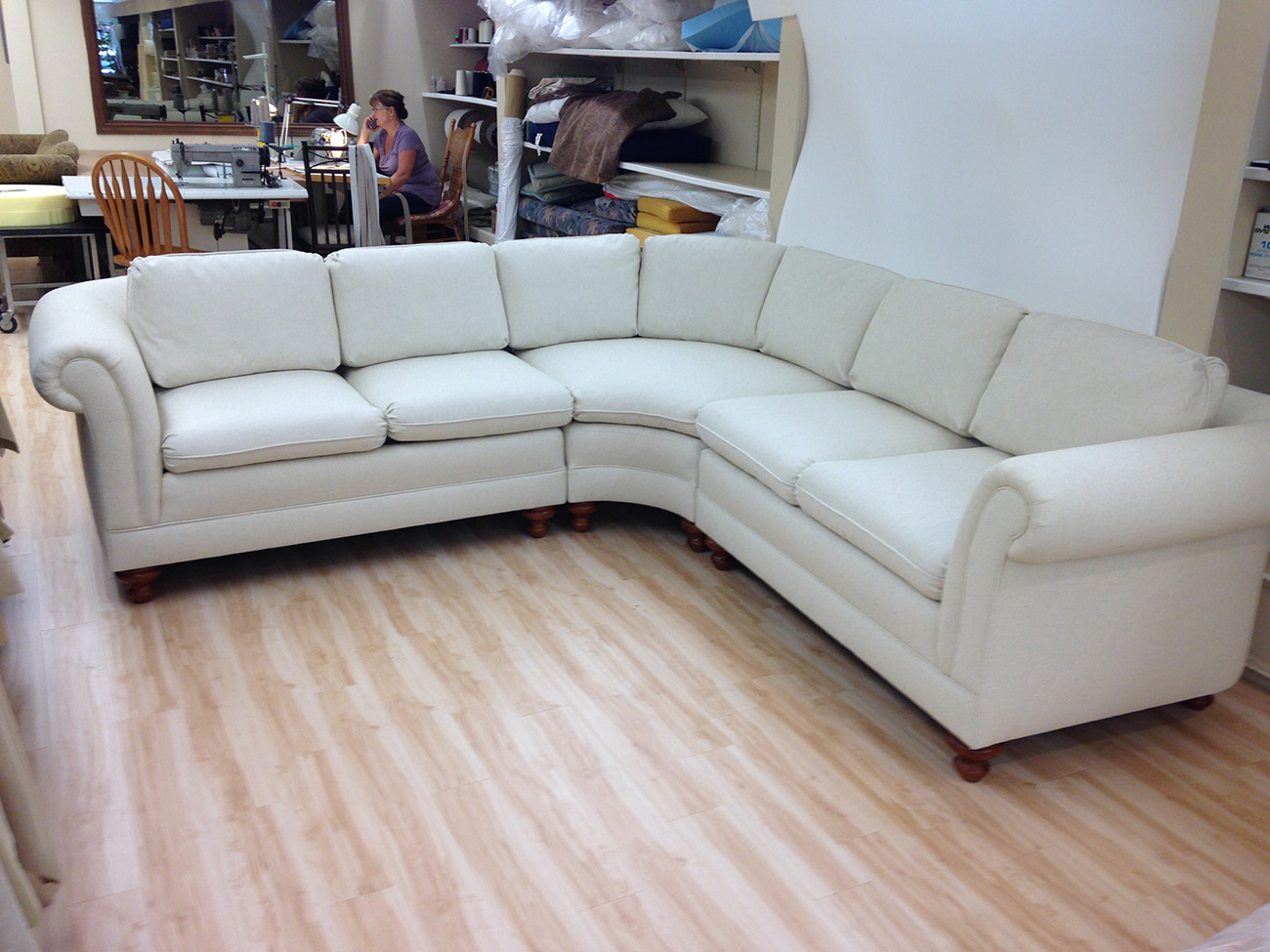 Sectional sofa re upholstery foamland and ted 39 s for Furniture upholstery